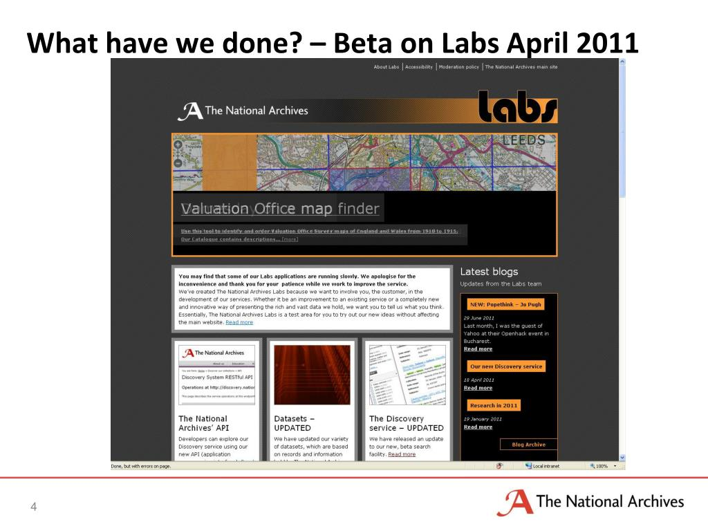 What have we done? – Beta on Labs April 2011