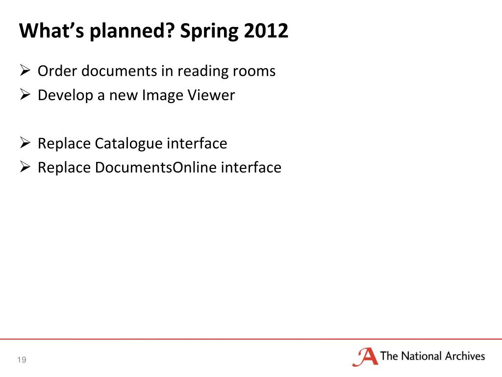 What's planned? Spring 2012
