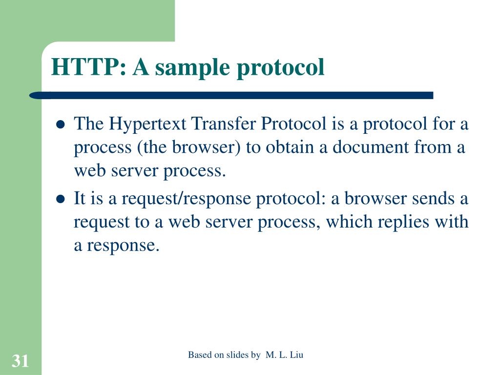 HTTP: A sample protocol