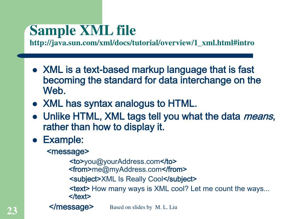 Sample XML file