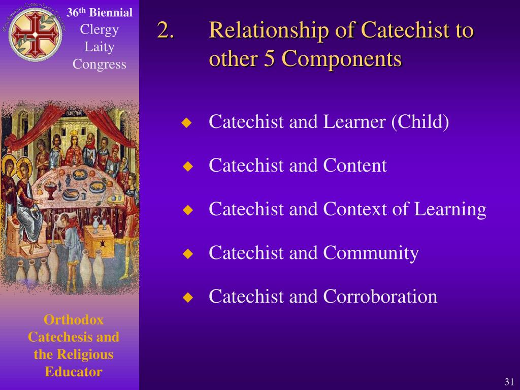 2.Relationship of Catechist to other 5 Components
