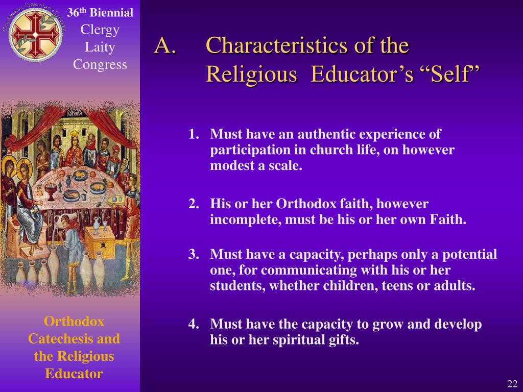 """A.Characteristics of the Religious Educator's """"Self"""""""