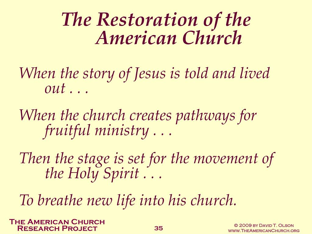 The Restoration of the American Church