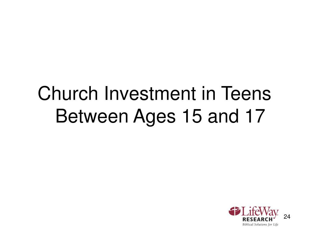 Church Investment in Teens Between Ages 15 and 17