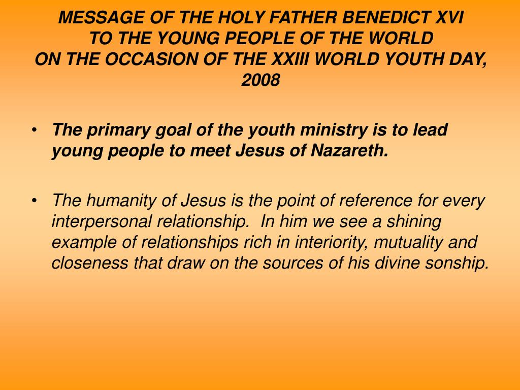 MESSAGE OF THE HOLY FATHER BENEDICT XVI