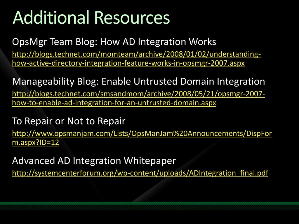 OpsMgr Team Blog: How AD Integration Works