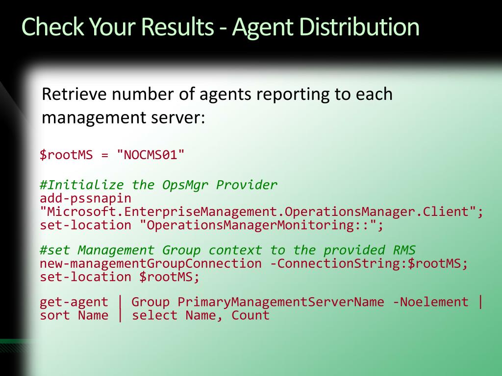 Check Your Results - Agent Distribution