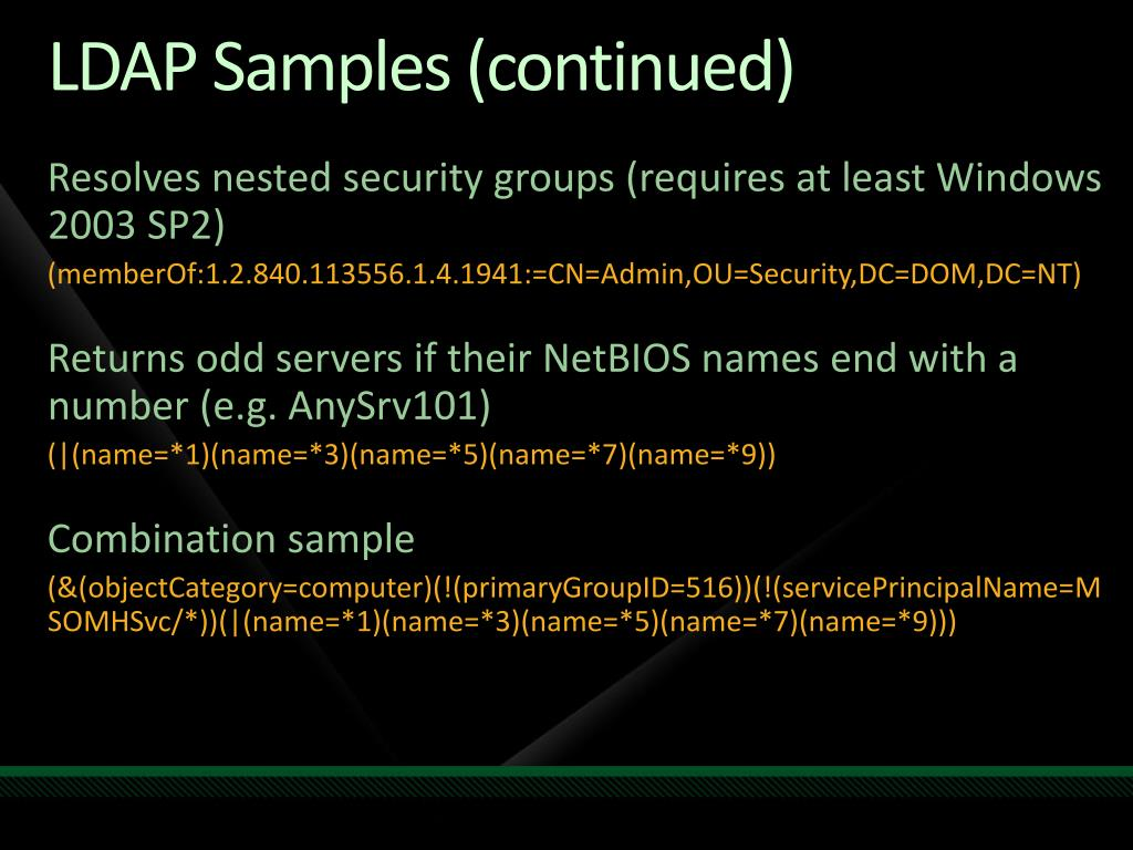 LDAP Samples (continued)