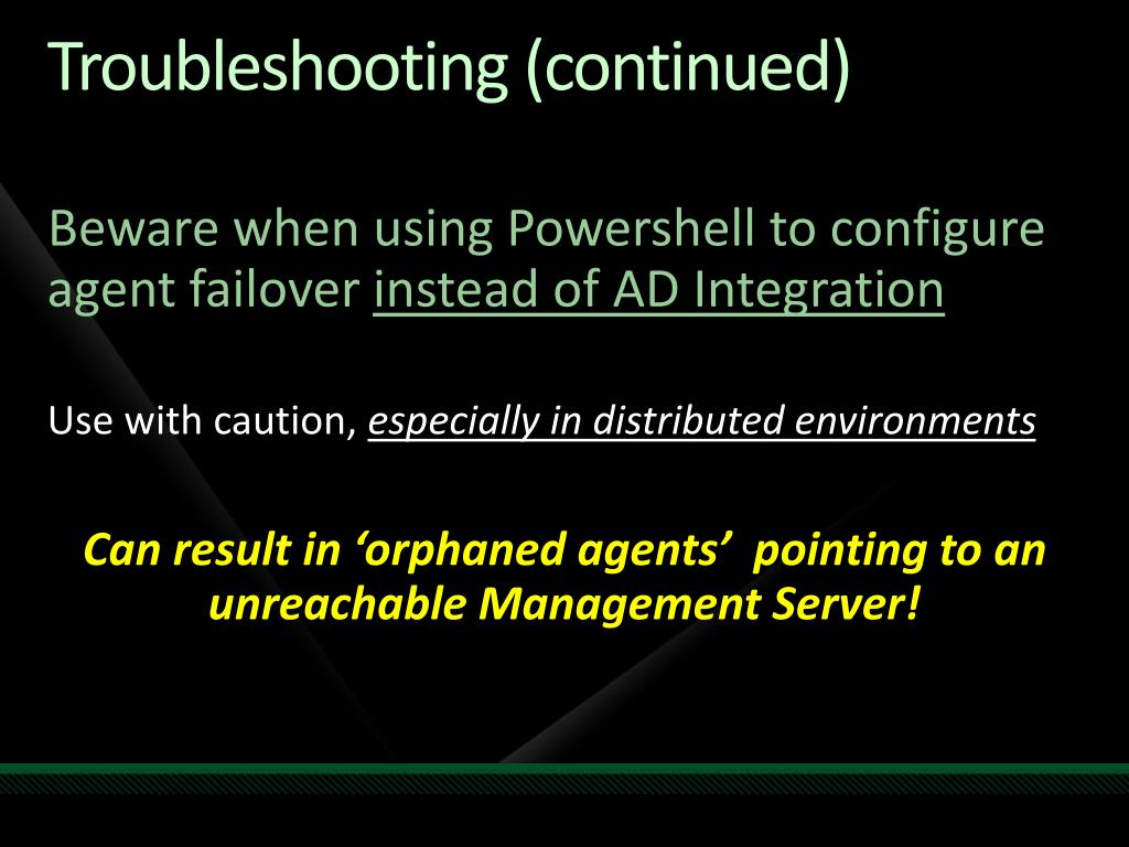 Troubleshooting (continued)