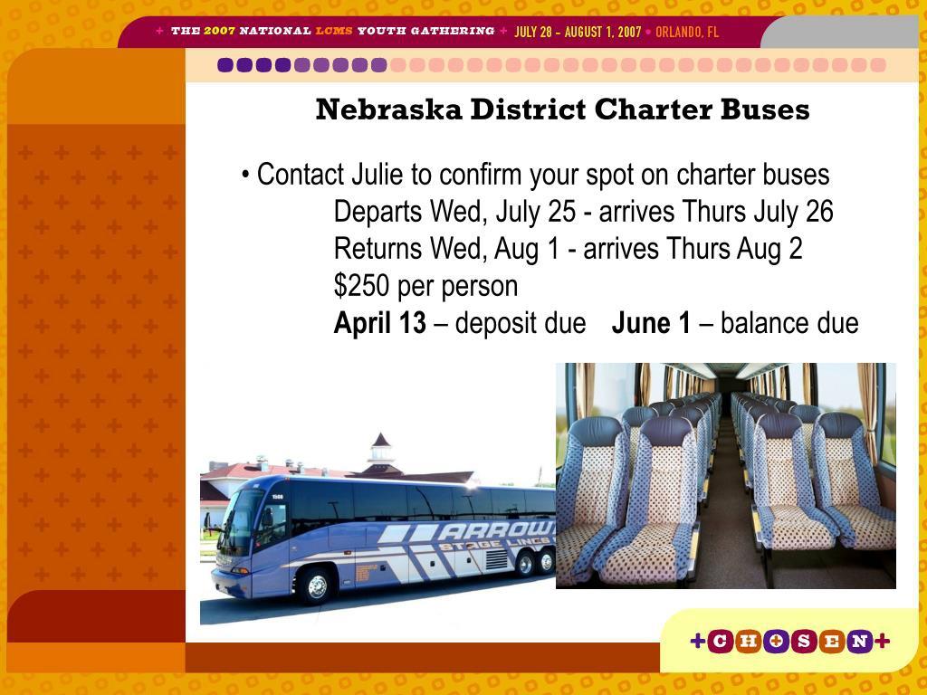 Nebraska District Charter Buses
