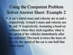 using the competent problem solver answer sheet example 2