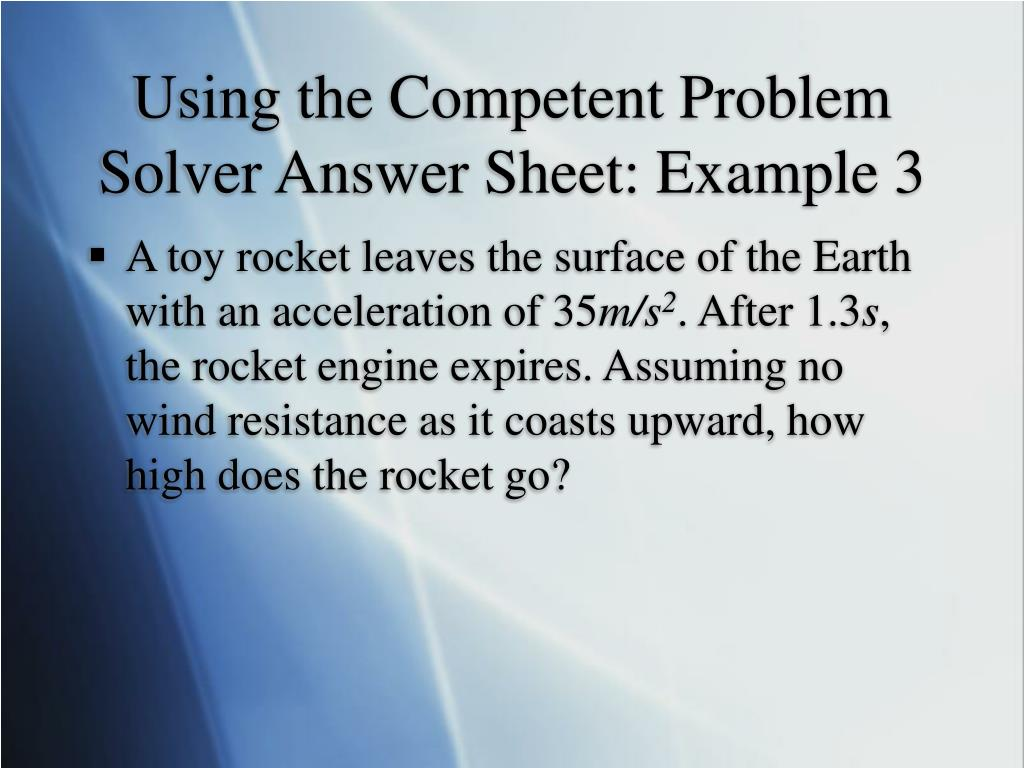 Using the Competent Problem Solver Answer Sheet: Example 3