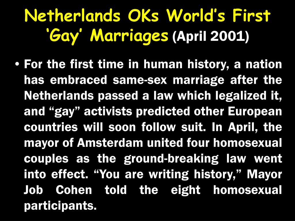 Netherlands OKs World's First 'Gay' Marriages