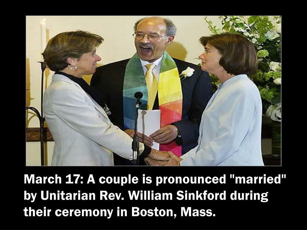 """March 17: A couple is pronounced """"married"""" by Unitarian Rev. William Sinkford during their ceremony in Boston, Mass."""