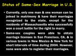 status of same sex marriage in u s