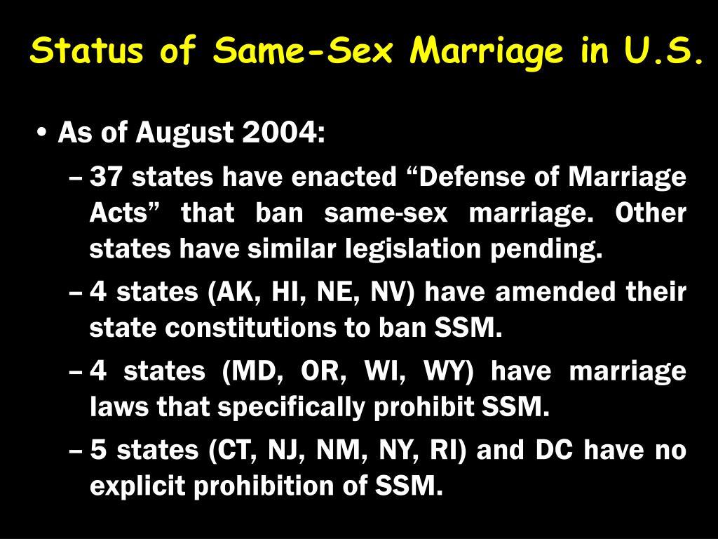 Status of Same-Sex Marriage in U.S.