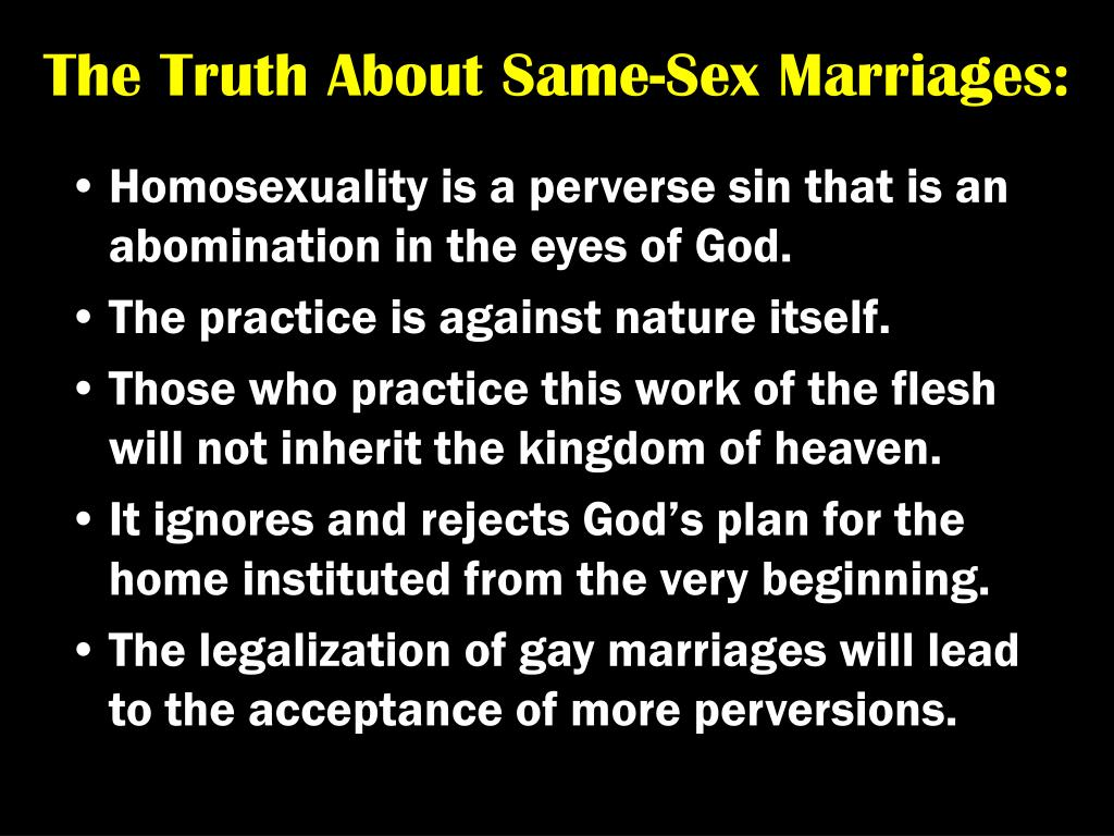 The Truth About Same-Sex Marriages: