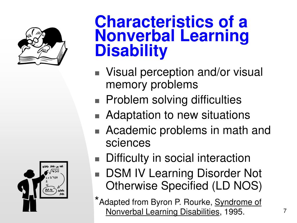 Characteristics of a Nonverbal Learning Disability