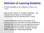definition of learning disability