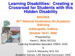learning disabilities creating a crossroad for students with this hidden disability