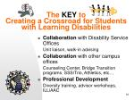 the key to creating a crossroad for students with learning disabilities