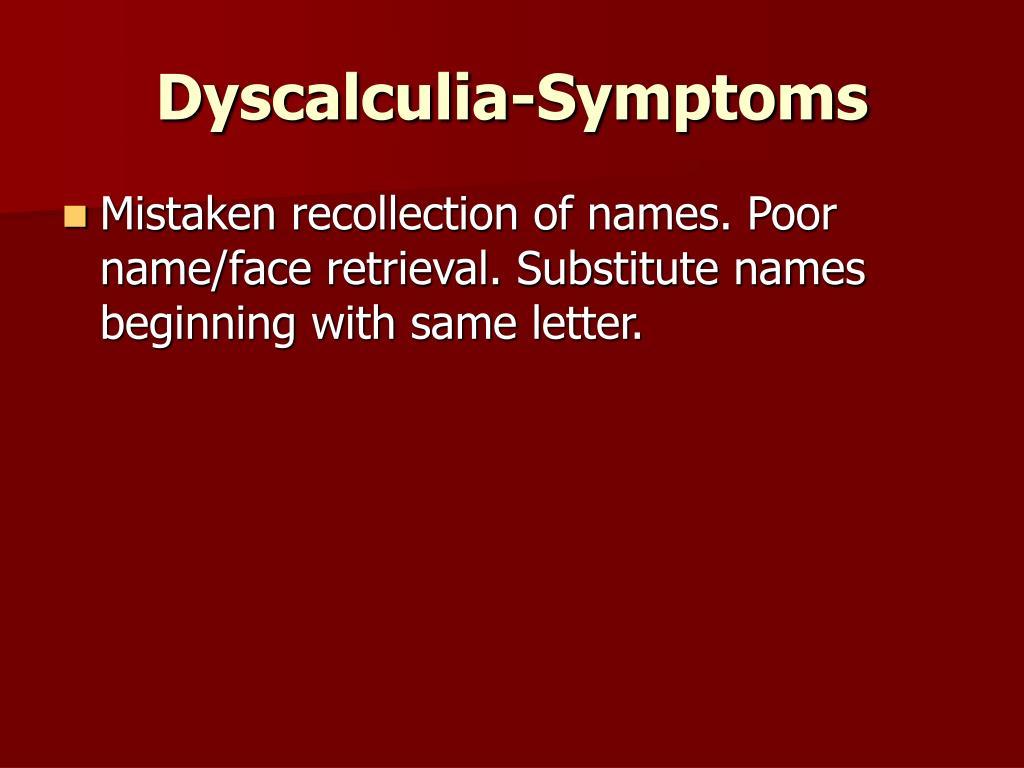 Dyscalculia-Symptoms