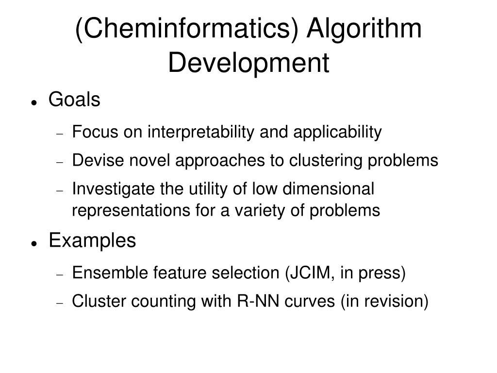 (Cheminformatics) Algorithm Development