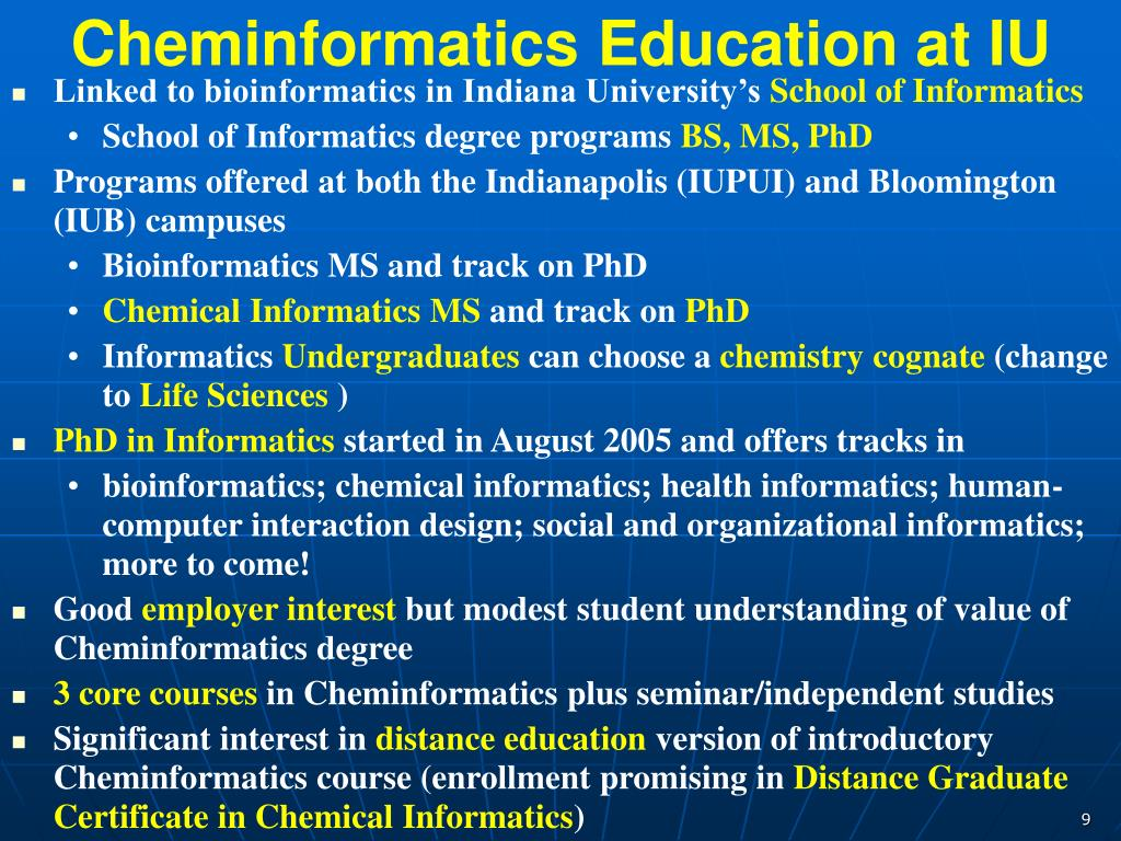 Cheminformatics Education at IU