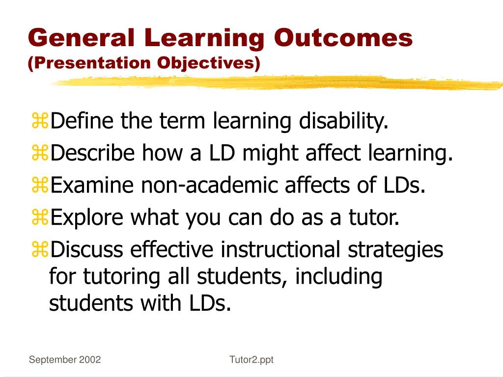 General Learning Outcomes