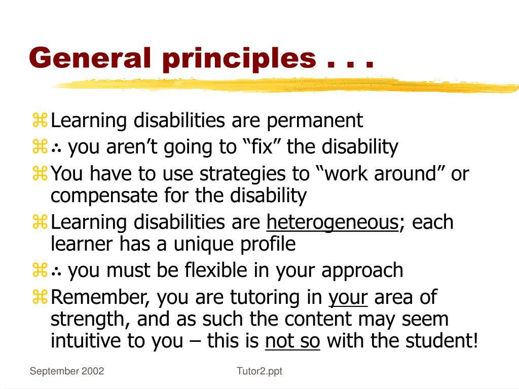 General principles . . .