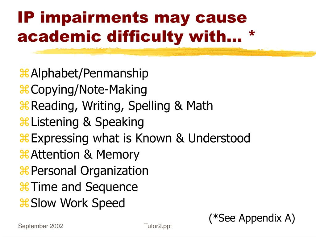IP impairments may cause academic difficulty with…