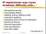 ip impairments may cause academic difficulty with