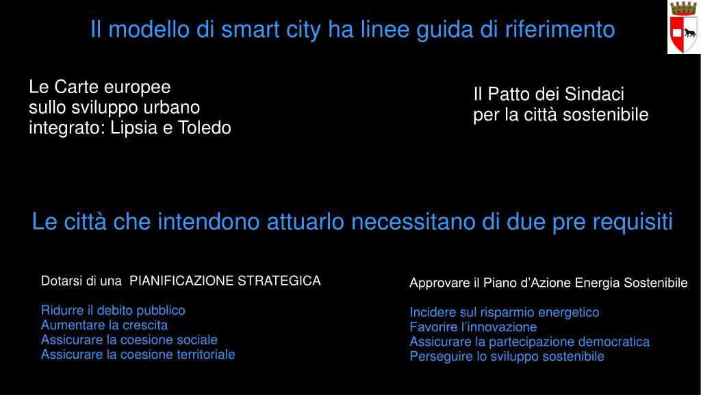 Il modello di smart city ha linee guida di riferimento