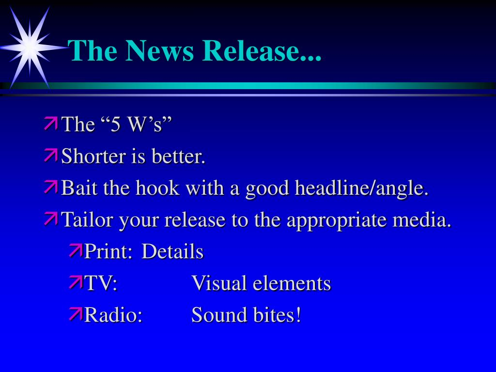 The News Release...