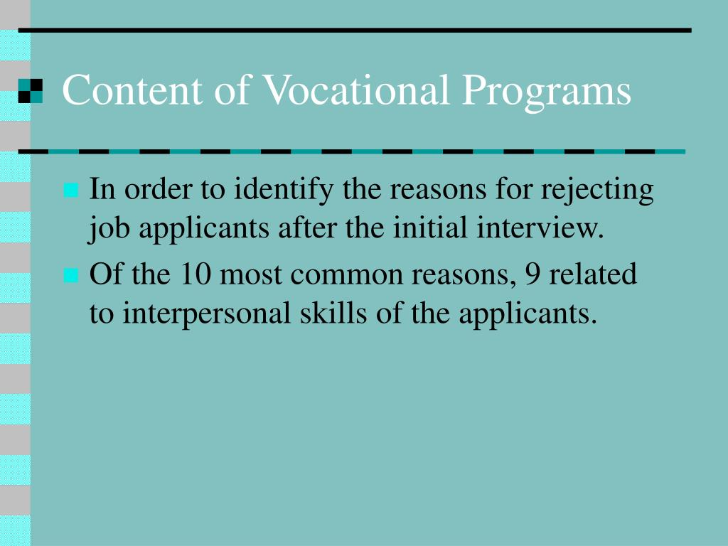 Content of Vocational Programs