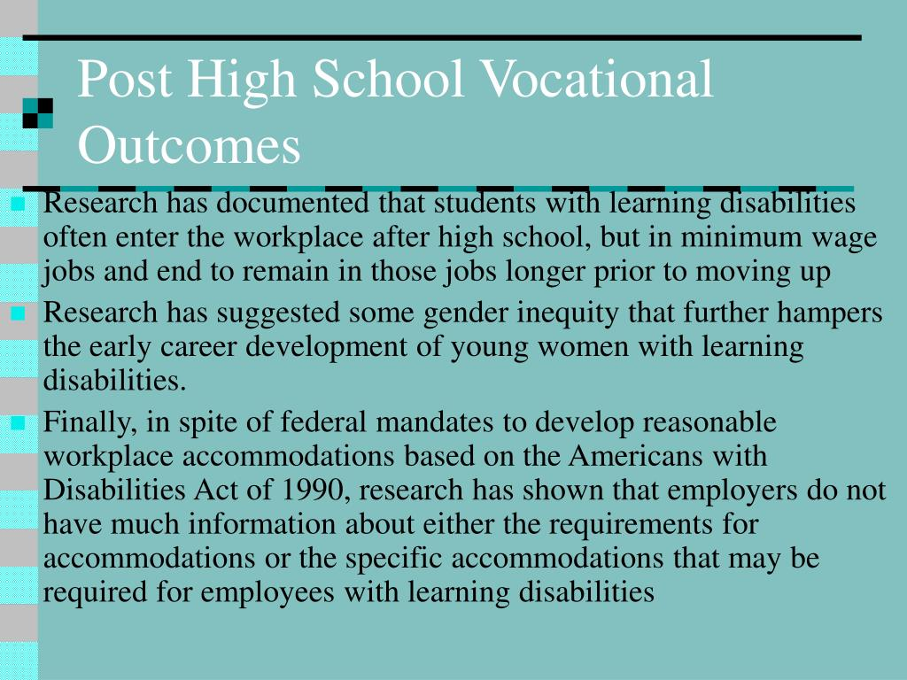 Post High School Vocational Outcomes
