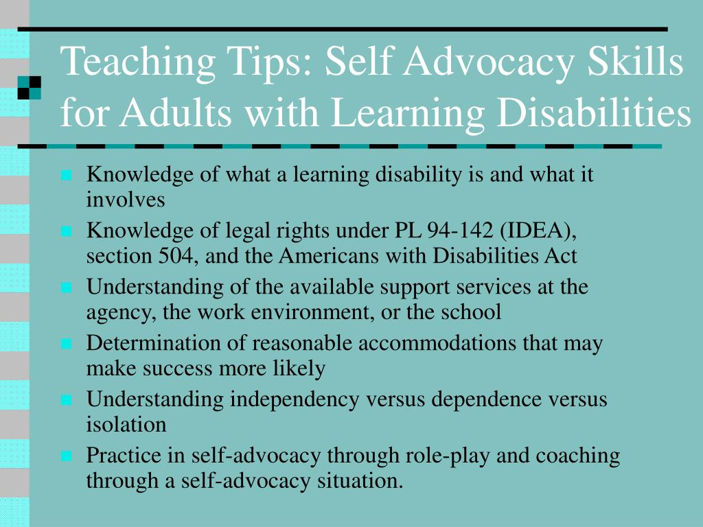 Teaching Tips: Self Advocacy Skills for Adults with Learning Disabilities