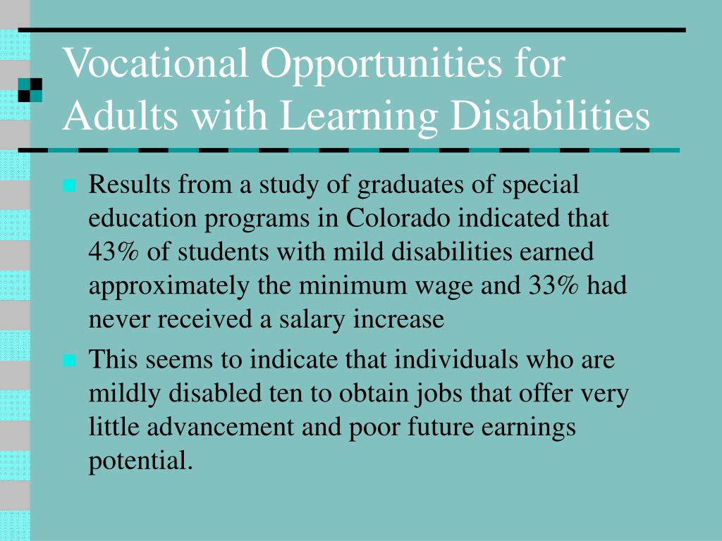 Vocational Opportunities for Adults with Learning Disabilities