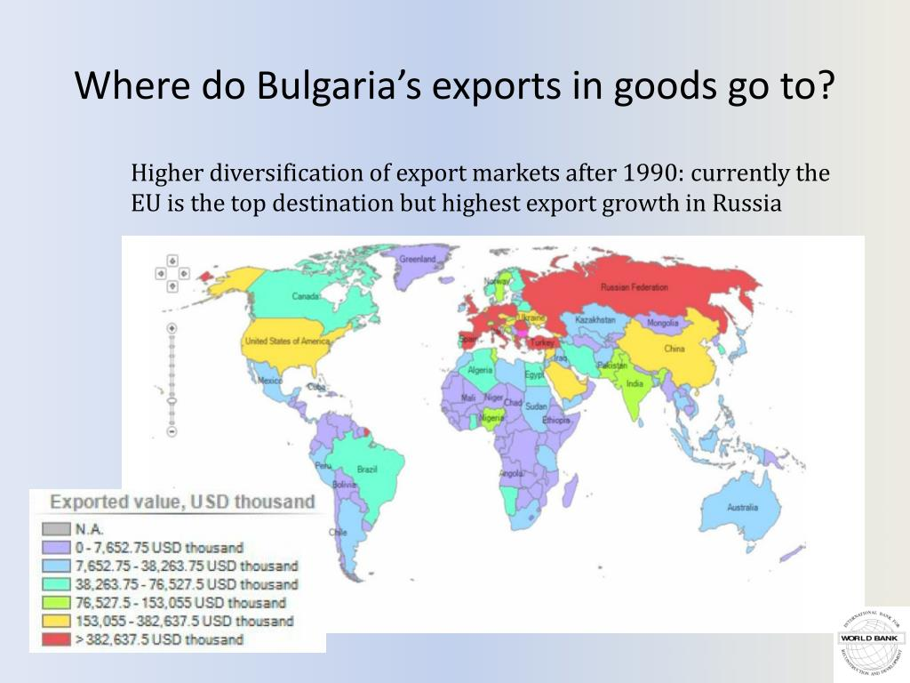 Where do Bulgaria's exports in goods go to?