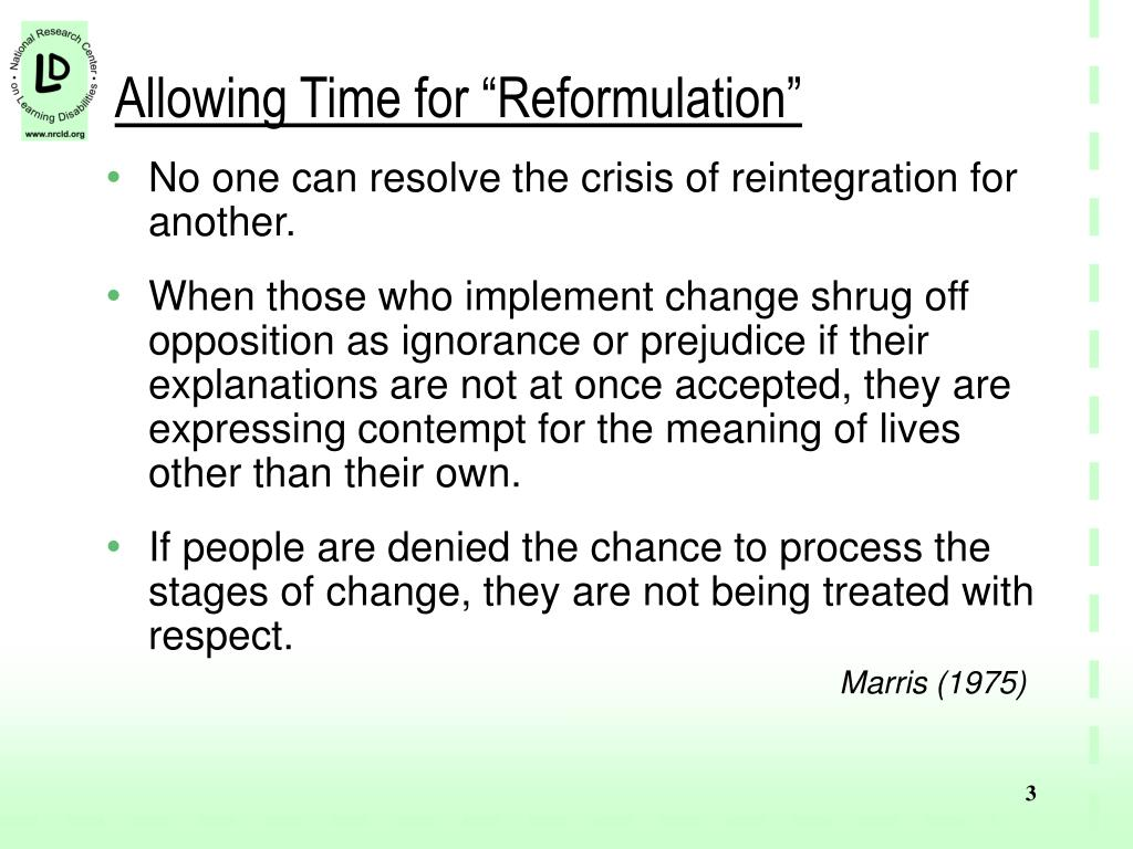"Allowing Time for ""Reformulation"""