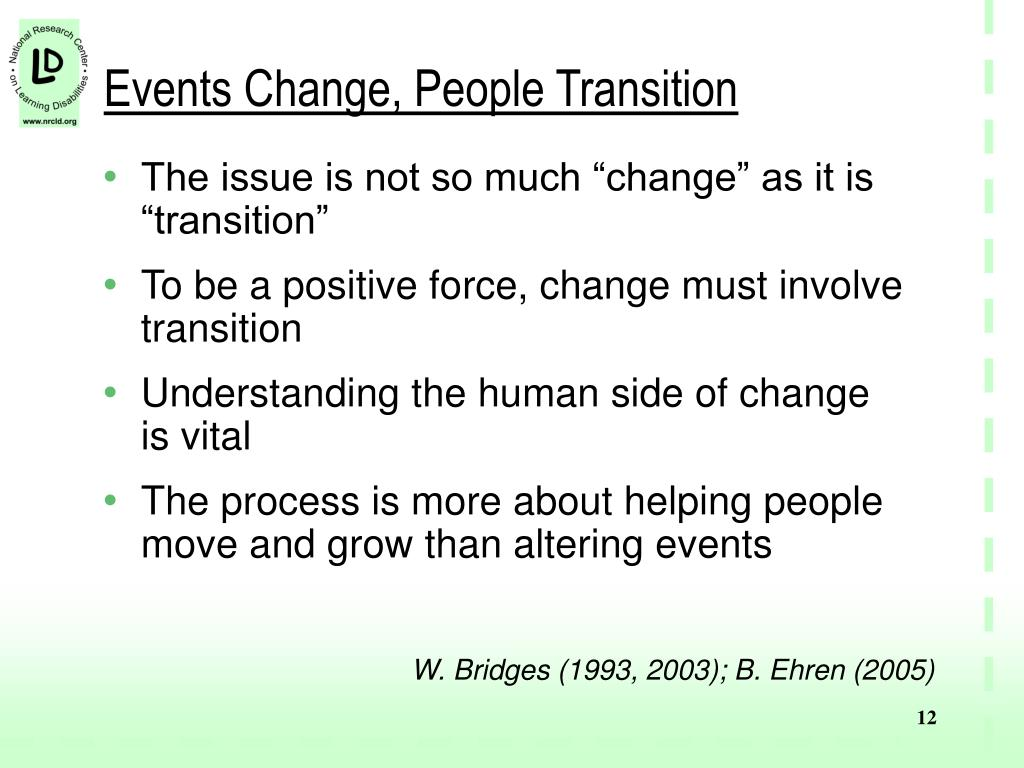 Events Change, People Transition