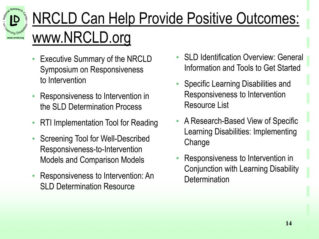 NRCLD Can Help Provide Positive Outcomes: