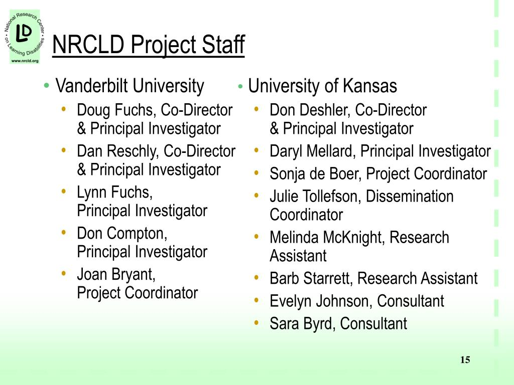 NRCLD Project Staff