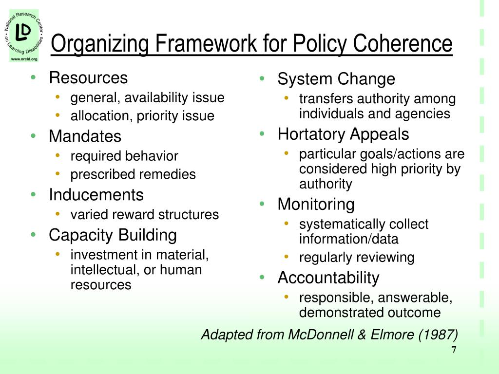 Organizing Framework for Policy Coherence