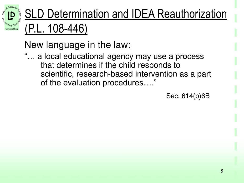 SLD Determination and IDEA Reauthorization