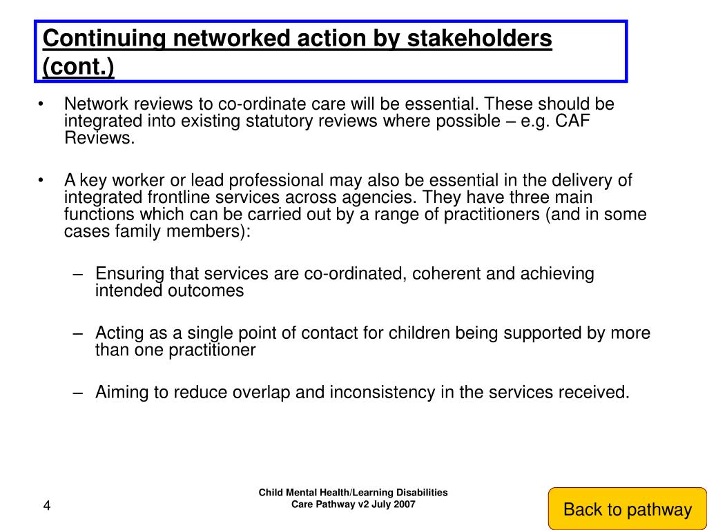 Continuing networked action by stakeholders (cont.)