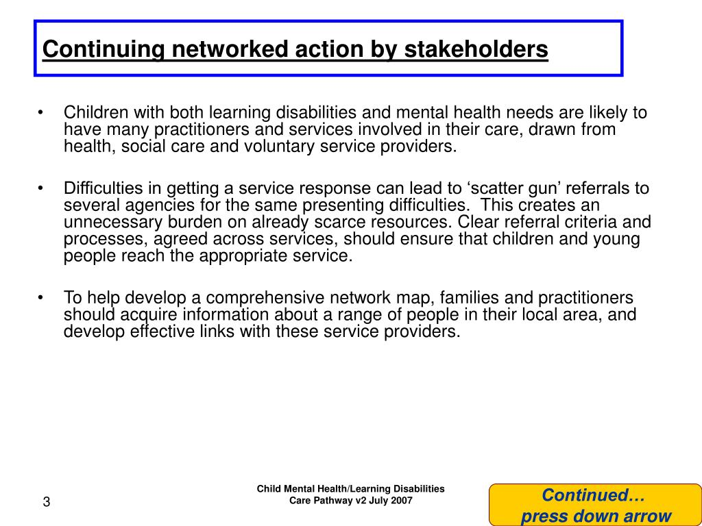 Continuing networked action by stakeholders