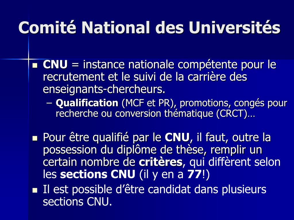 Comité National des Universités