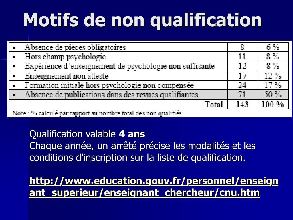 Motifs de non qualification