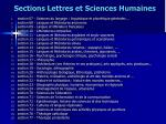 sections lettres et sciences humaines